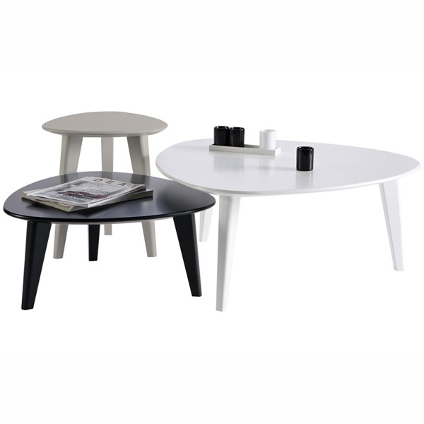 Set 3 tables basses gigognes demeyere - Table de salon reglable en hauteur ...