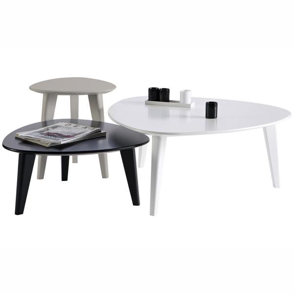 Set 3 tables basses ovoide gigogne de qualit blanche for 3 tables basses gigognes