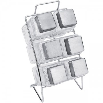 Boîtes à épices carrées sur support