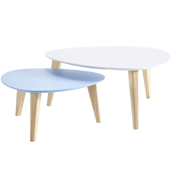 Set 2 tables basses ovoide gigogne de qualit blanche et bleu for 2 tables basses gigognes