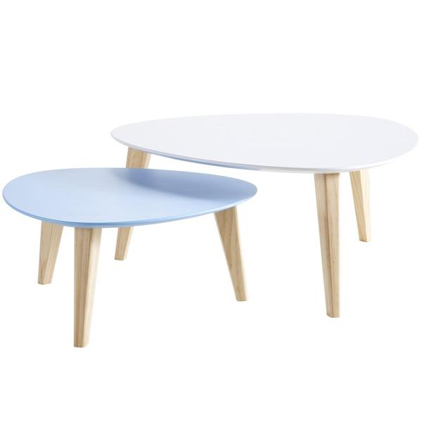 Tables basses gigognes blanc et bleu stone demeyere for Table basse scandinave bleu