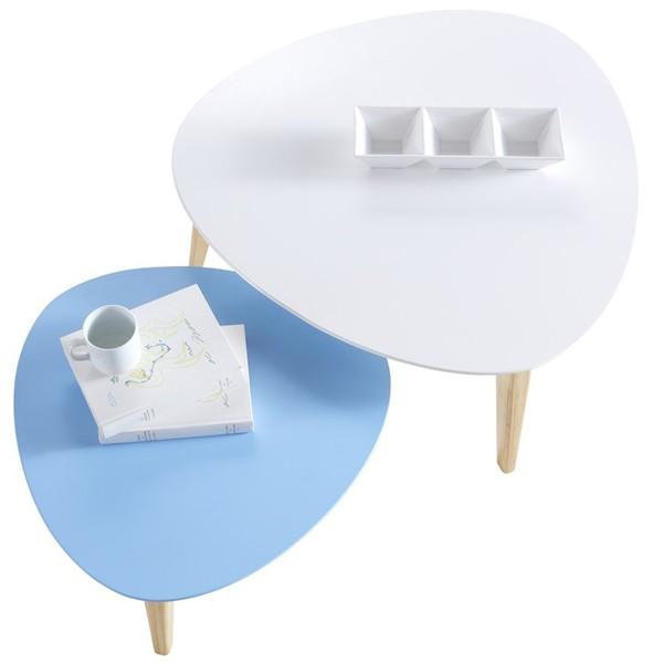 Set 2 tables basses ovoide gigogne de qualit blanche et bleu - Table basse ovoide ...