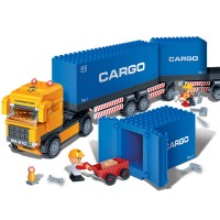Blocs de construction camion et docker et 4 figurines