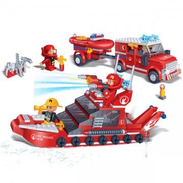 Blocs de construction bateau et camion de pompiers