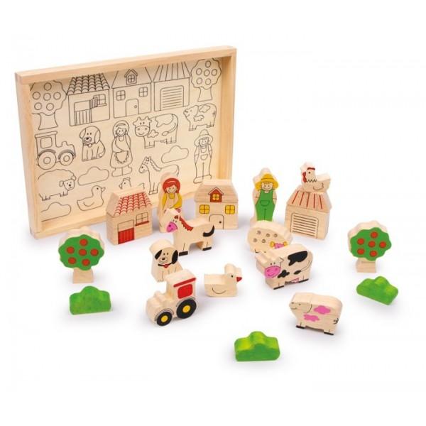 Jeu de construction en bois la ferme small foot for Construction xylophone bois
