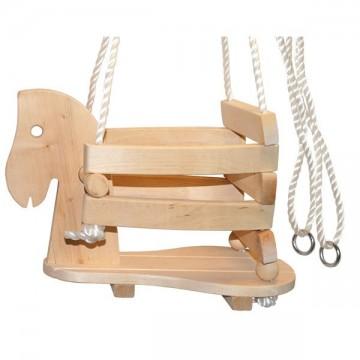Balançoire en bois assise tête de cheval