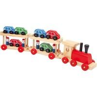 Train transport de voitures en bois
