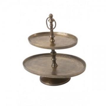 Serviteur ovale 2 niveaux bronze antique