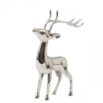 Cerf décoratif en métal argenté de 50 cm