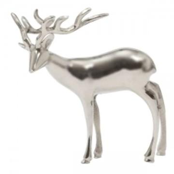 Cerf décoratif en métal argenté 28x30 cm