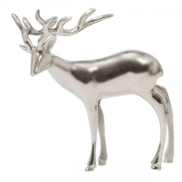 Cerf décoratif en métal argenté 30 cm
