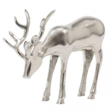 Cerf décoratif brouteur métal argenté 29 cm