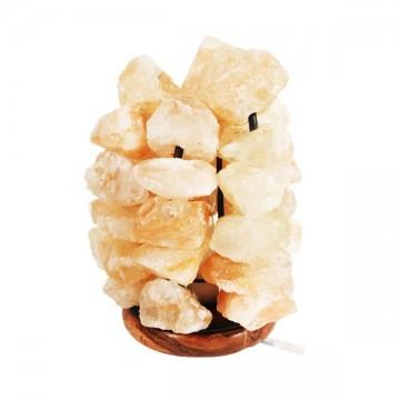 Lampe en cristaux de sel naturel socle en bois