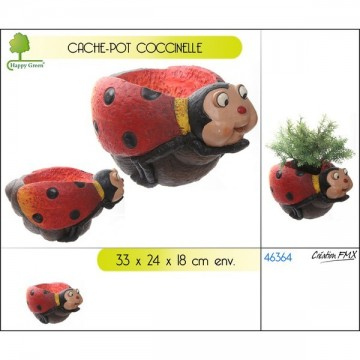 Cache-pot décor coccinelle