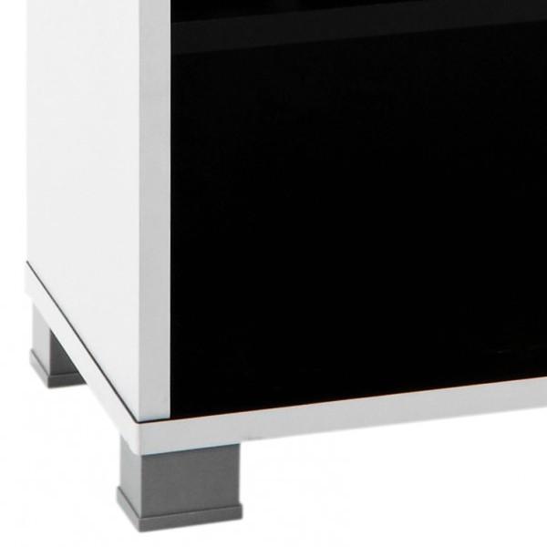 Meuble t l design noir et blanc demeyere for Meuble tv design noir et blanc