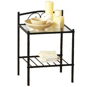 chevet m tal et plateau en verre demeyere. Black Bedroom Furniture Sets. Home Design Ideas