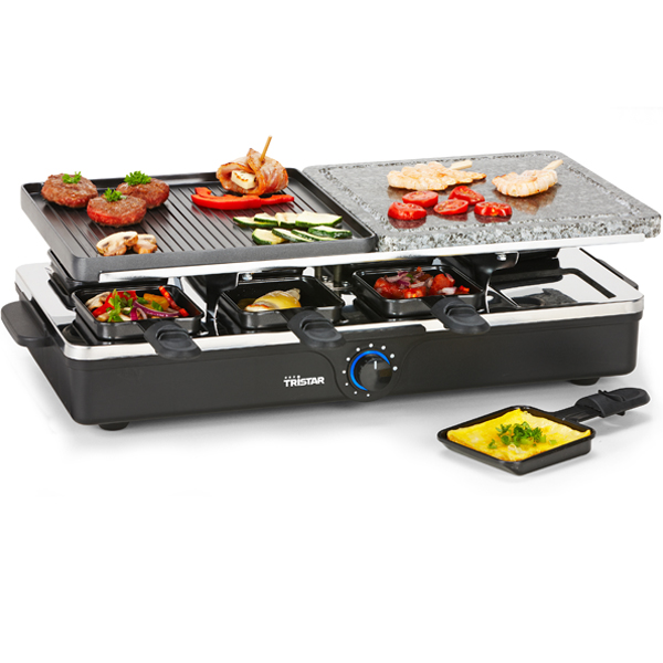 appareil raclette 4 en 1 pour 8 personnes tristar. Black Bedroom Furniture Sets. Home Design Ideas