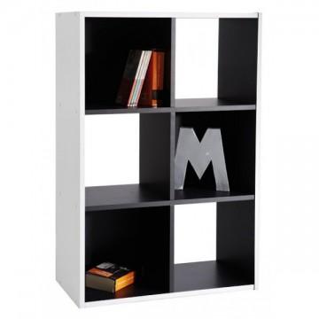 Bibliothèque meuble rangement 6 cases noir et blanc