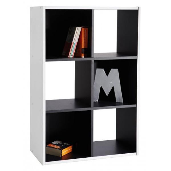 Biblioth que meuble rangement 6 cases noir et blanc for Meuble 6 cases blanc