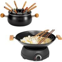 wok et fondue 2 en 1 multifonctions