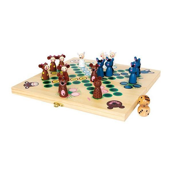 """Ludo """"Animaux de la Ferme"""" : jeu de petits chevaux en bois"""