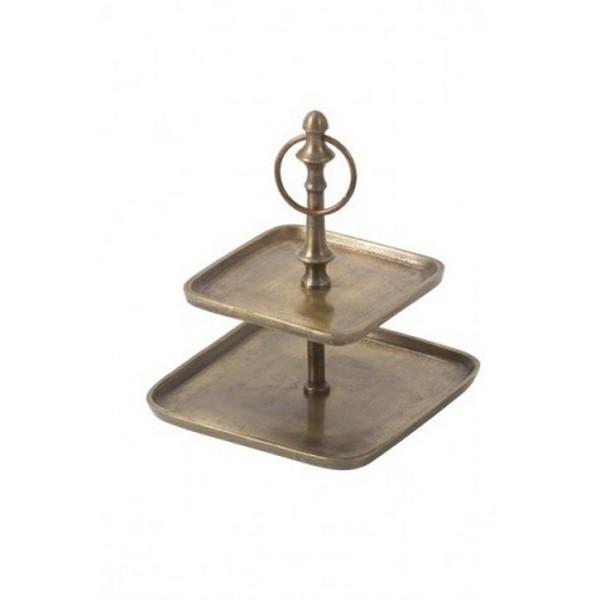 Serviteur carré 2 niveaux bronze antique brut