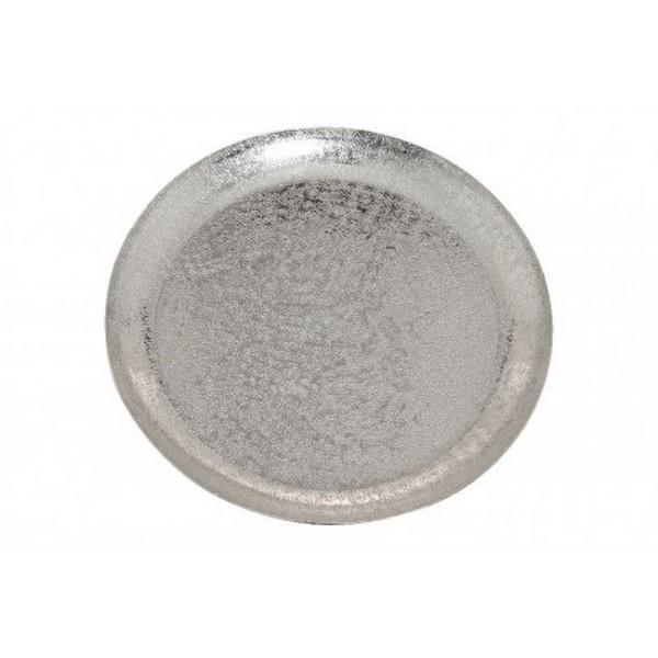 Plateau rond métal argenté