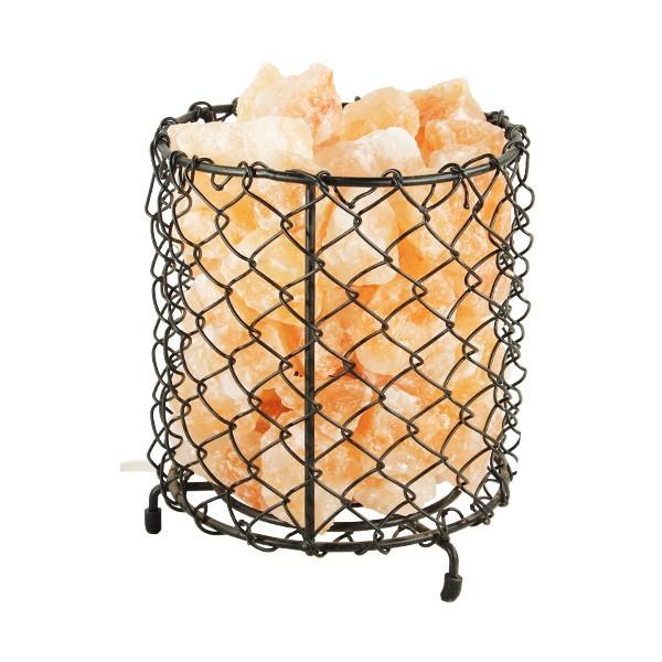 Lampe en cristal de sel et panier fer forgé