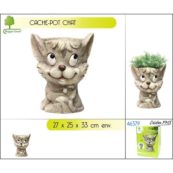 Cache-pot décor chat