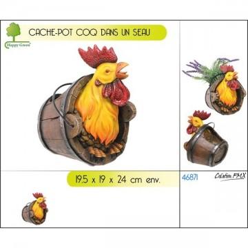 Cache-pot coq dans un seau