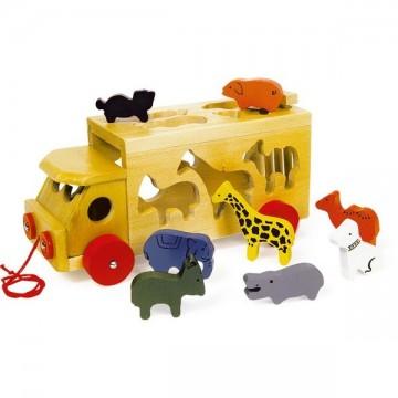 Camion du zoo en bois