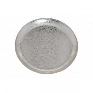 Plateau métal rond argenté