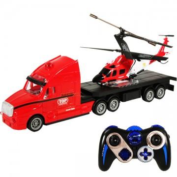 Camion avec hélicoptère télécommandés
